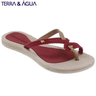 【TERRA&AGUA】デザインストラップビーチサンダル|ラズベリー