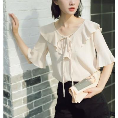 レディースブラウス シャツブラウス トップス ブラウス Tシャツ シャツ 半袖 カットソー 綿 シンプル 可愛い カジュアル 女性 韓国 0017 ※ネコポス可