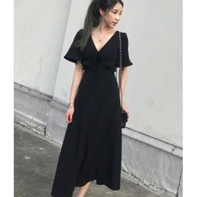 ロング ワンピース 黒 Vネック 大人 ブラック きれいめ 秋物 冬物 最新 レディース ファッション 2020 人気 可愛い 大人