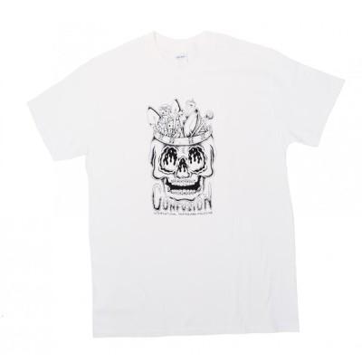 コンフュージョンマガジン 半袖 Tシャツ ホワイト スケート メンズ CONFUSION MAGAZINE DIY SKULL S/S T-SHIRT WHITE