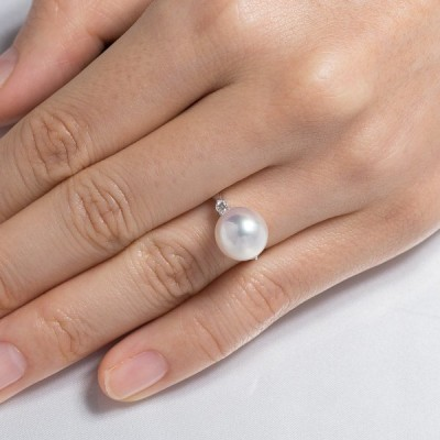 真珠 リング 指輪 アコヤ あこや パール 伊勢志摩 卸 10.4mm プラチナ 誕生石 6月 プレゼント用