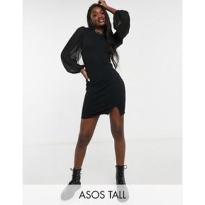 エイソス レディース ワンピース トップス ASOS DESIGN Tall mini dress with sheer long sleeves in black Black