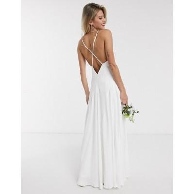 エイソス レディース ワンピース トップス ASOS EDITION Paige satin plunge wedding dress with cross back