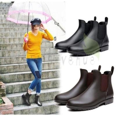 レインブーツ ショートブーツ レディース シューズ 大きいサイズ  PVC シンブル 大きいサイズ 無地 防水 滑り止め 梅雨対策