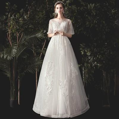 【送料無料】ドレス 格安 ウエディングドレス 白 ドレス 二次会 花嫁 結婚式 袖あり ウェディングドレス フォーマル 編み上げタイプ おしゃれ レース ワンピース