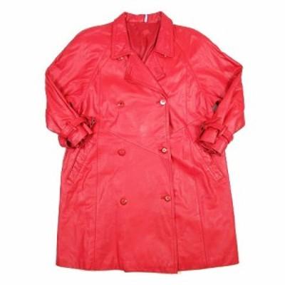 【中古】パルティーナ PARTINA レザー トレンチ コート ジャケット ブルゾン 牛革 袖ベルト 赤 レッド/h16 ■5