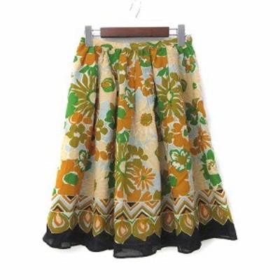 【中古】イエナ IENA スカート 38 M オレンジ ベージュ 花柄 フレア ミニ 美品 レディース