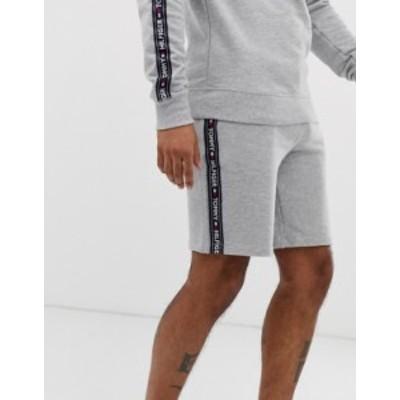 トミー ヒルフィガー メンズ ハーフパンツ・ショーツ ボトムス Tommy Hilfiger authentic lounge shorts side logo taping in gray marl