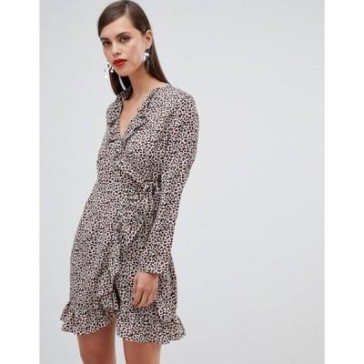 ユニークトゥエンティワン レディース ワンピース トップス Unique 21 leopard print long sleeve wrap dress with frill