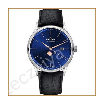 Edox Men's Les Vauberts 42mm Black Leather Band Steel Case Automatic Blue Dial Analog Watch 80500 3 BUIR並行輸入品