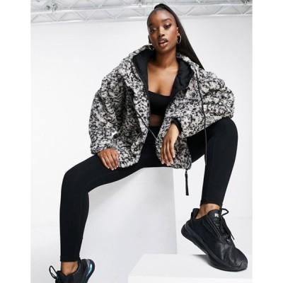 バーレイ レディース ジャケット・ブルゾン アウター Varley Montalvo hooded faux shearling jacket in gray leopard print