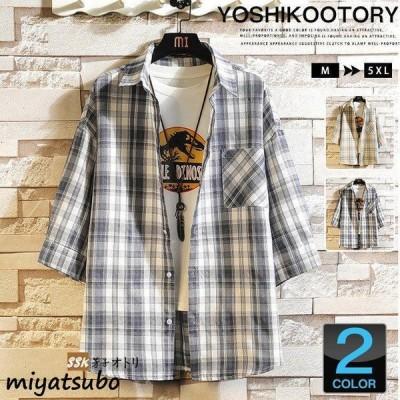 カジュアルシャツ メンズ 七分袖 シャツ チェックシャツ 30代 40代 夏のファッション トップス お兄系