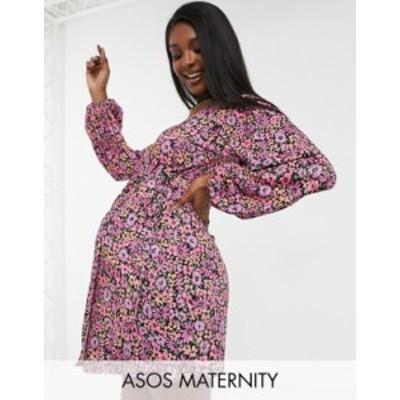 エイソス レディース ワンピース トップス ASOS DESIGN Maternity long sleeve wrap midi dress in pink floral print Floral