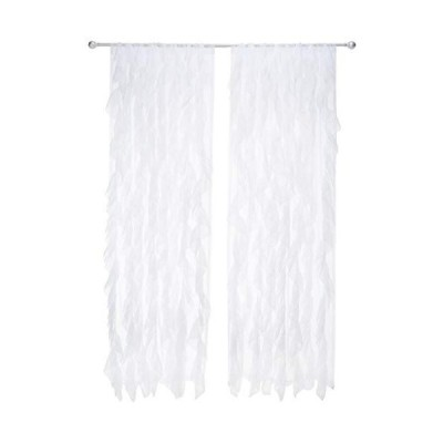"""Sweet Home Collection 2 Pack Window Panel Sheer Voile Vertical Ruffled Waterfall Curtains, 96"""" x 50"""", White【並行輸入品】"""