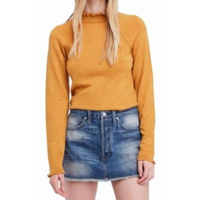 Free People フリーピープル ファッション トップス Free People Womens Yellow Size XS Mock Neck Pullover Wool Sweater
