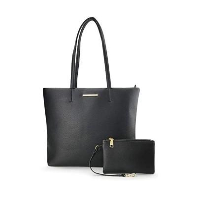 (新品) Women's Tote Faux Leather Shoulder Handbag With Zipper Pouch Wristlet(Black)