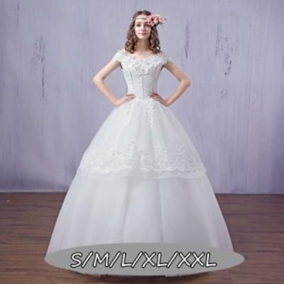 ウェディングドレス 結婚式ワンピース 花嫁 ドレス ハイウエスト Vネック マキシドレス 体型カバー Aラインワンピース