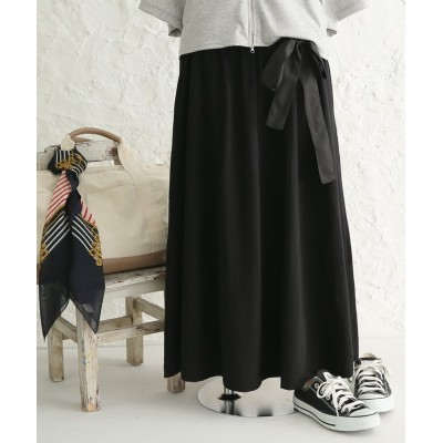 【オシャレウォーカー】 『リボン付きカットソーフレアスカート』 レディース ブラック フリーサイズ osharewalker