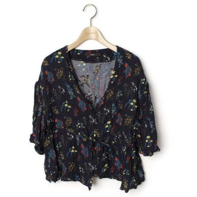 シャツ ブラウス 花柄7分袖ブラウス
