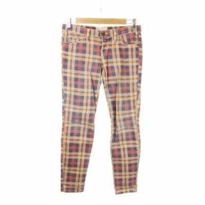 【中古】カレントエリオット CURRENT ELLIOTT パンツ タイト チェック ローライズ 25 ベージュ 赤 レッド 青 ブルー