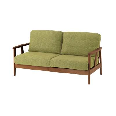 アルダー材の木肘ソファー<2人掛けワイド>