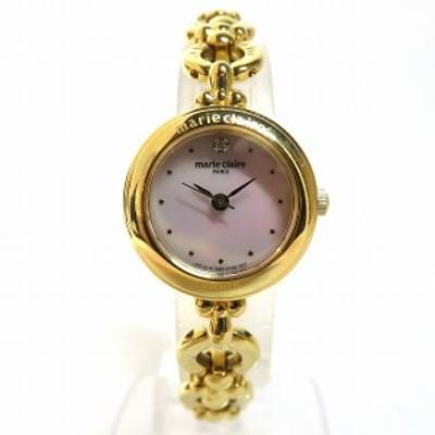 マリクレール ブレスウォッチ シェル文字盤 SS GP ピンク ゴールド クォーツ 時計 腕時計 レディース【中古】