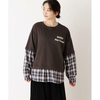 SHOO・LA・RUE/シューラルー 【S-L】チェックシャツレイヤードプルオーバー チャコールグレー(014) 03(L)