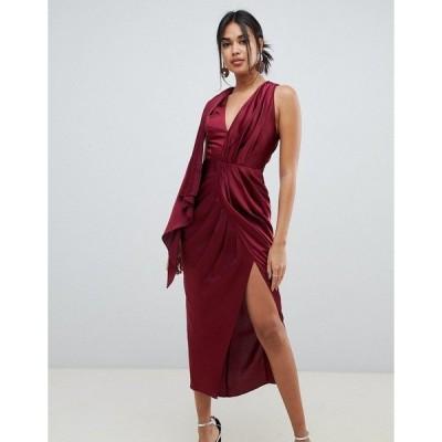 エイソス レディース ワンピース トップス ASOS DESIGN occasion sleeveless satin drape midaxi dress Oxblood