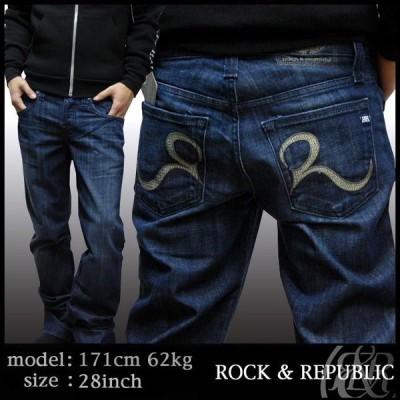 Rock&Republic ロック&リパブリック メンズ ストレート デニム ブルー カーキ ステッチ パンツ ジーンズ Rock & Republic ロック & リパブリック