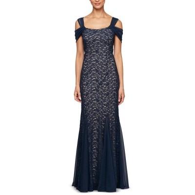 アレックスイブニングス ワンピース トップス レディース Cold-Shoulder Lace Dress Dark Blue