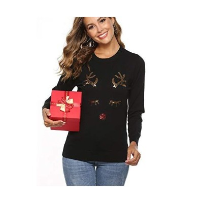 YAWOVE Christmas Reindeer Themed Knitted Holiday Sweater Girl Pullover Blac