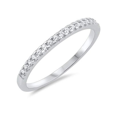White CZ Wholesale Channel Accent Wedding Ring Sterling Silver Band Si