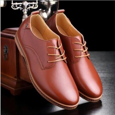 メンズ ビジネス レザー シューズ 革靴 靴 カジュアル 屈曲性 通勤 軽量 仕事  ブラウン