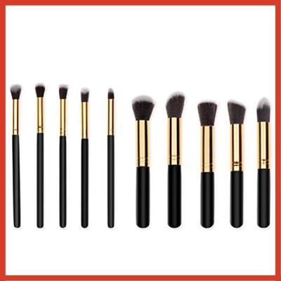 メイクブラシ 化粧筆 ケース付き 携帯用 化粧ブラシ フェイスブラシ人気 プレゼントに最適 10本セット (ブラッ