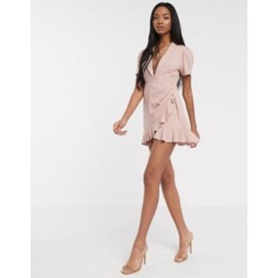 エイソス レディース ワンピース トップス ASOS DESIGN drape linen tux mini dress with ruffle hem Washed rose