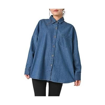 JANJAMCOLLECTION大きいサイズ レディース デニムシャツ 長袖 ライトデニム 前開きボタン 胸ポケット BIGシャツ cott