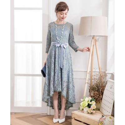 【ドレス スター】 総レースワンピースドレス・結婚式ワンピース・お呼ばれパーティードレス レディース ブルー Mサイズ DRESS STAR