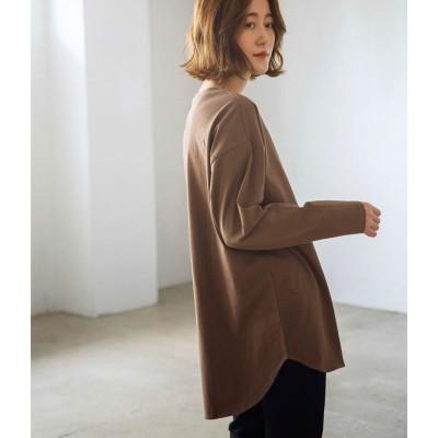 ジーラ GeeRA 【WEB限定】裾ラウンド長袖Tシャツ (モカ)【Lサイズ】