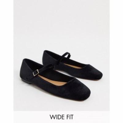 エイソス ASOS DESIGN レディース スリッポン・フラット シューズ・靴 Wide Fit Late mary jane ballet flats in black velvet ブラック