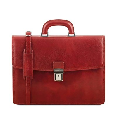 Tuscany Leather Amalfi Leather Briefcase 1 Compartment Red 並行輸入品