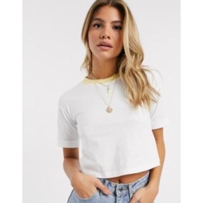 アディダス レディース シャツ トップス adidas Originals cropped trefoil t-shirt in white and yellow White