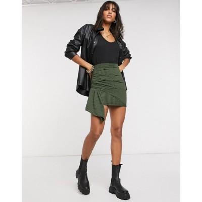 エイソス レディース スカート ボトムス ASOS DESIGN ruched mini skirt in khaki and black check print