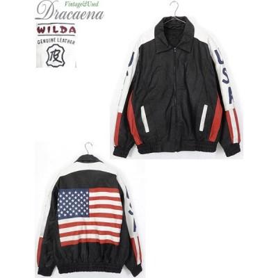 古着 ジャケット 90s USA 星条旗 マルチ デザイン 本革 レザー スタジャン ブルゾン ライナー付 2X カルチャー 古着