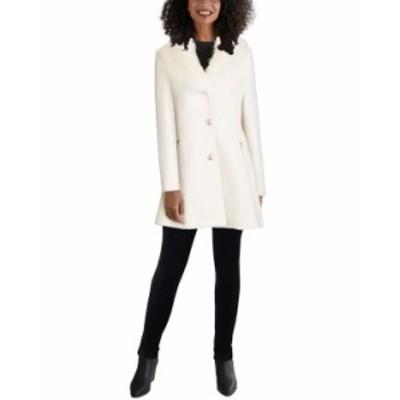 ゲス レディース コート アウター Faux-Fur-Collar Skirted Coat White