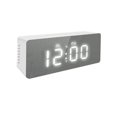 [赤]電気目覚まし時計マルチ機能ミラー時計ホームオフィス装飾用気象温度表示時計