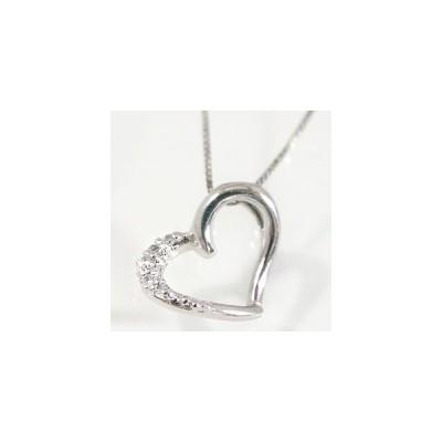 オープンハート ダイヤモンド ネックレス プラチナ ペンダント Pt900 ダイヤ 0.03ct