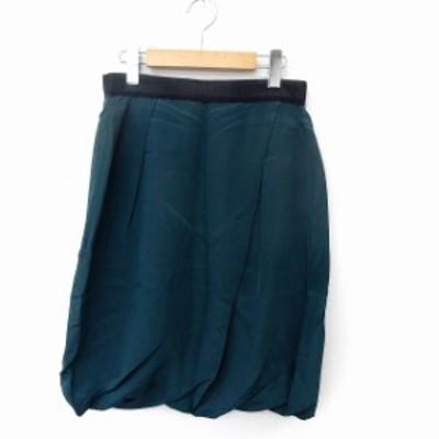 【中古】ボールジー BALLSEY トゥモローランド スカート 膝丈 バルーンスカート タイト バックジップ 38 グリーン 緑