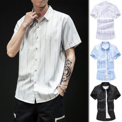 リネンシャツ メンズ シャツ 半袖 シンプル ストライプ柄 カジュアルシャツ 白シャツ ブルー 白 黒 春 夏 2020新作