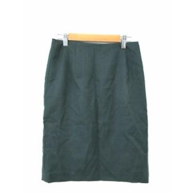 【中古】ロペ ROPE スカート タイト ひざ丈 ジップアップ ウール 36 緑 グリーン /M2N10 レディース