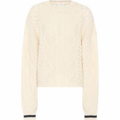 イヴ サンローラン Saint Laurent レディース ニット・セーター トップス Wool cable-knit sweater White